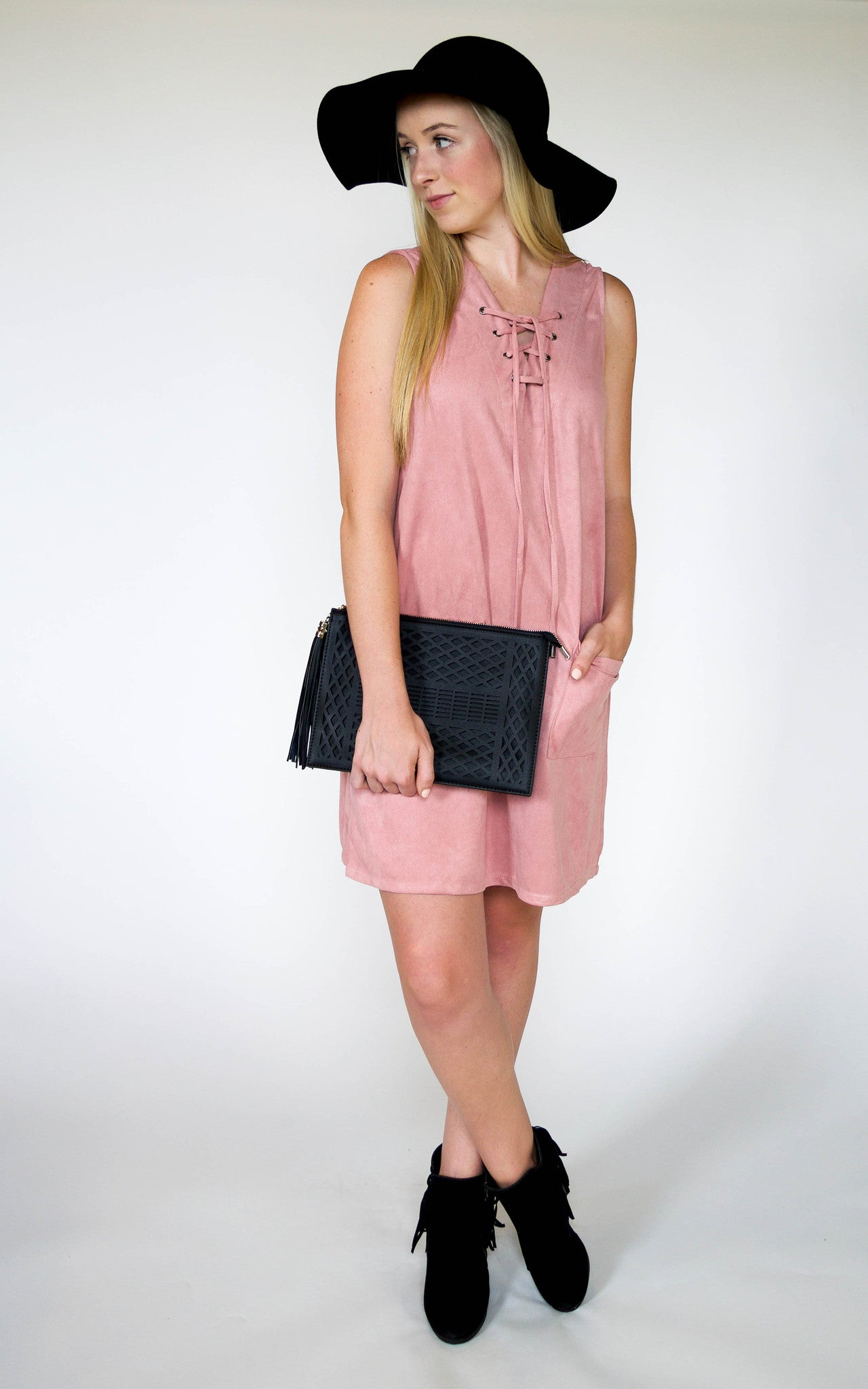 Rose Suede Shift Dress - Dawn and Rae Boutique