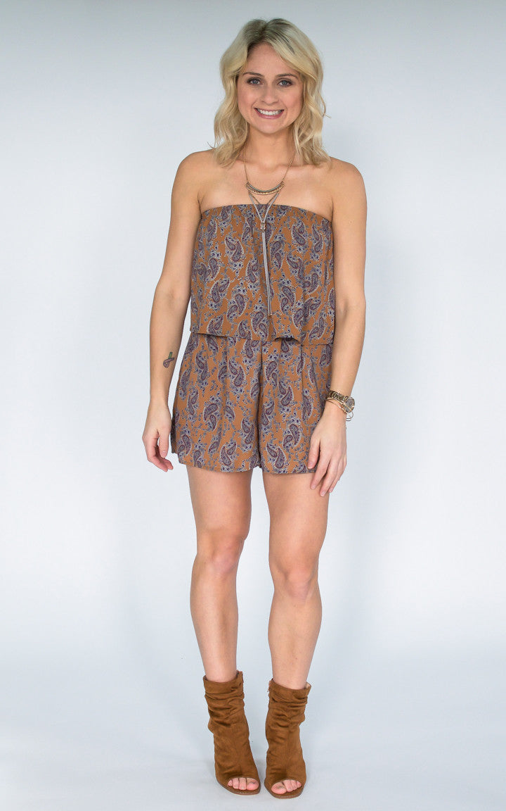 Dobby Paisley Print Strapless Romper - Dawn and Rae Boutique