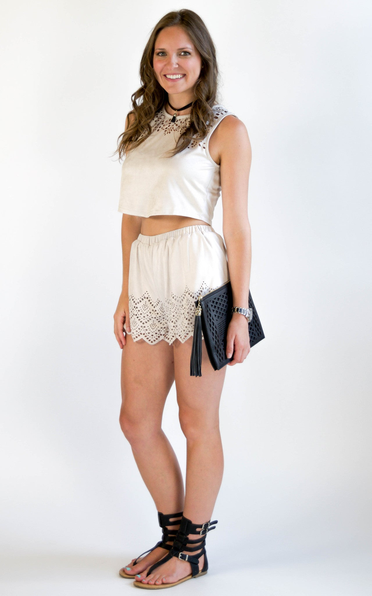 Stone Suede Two Piece Short Set - Dawn and Rae Boutique