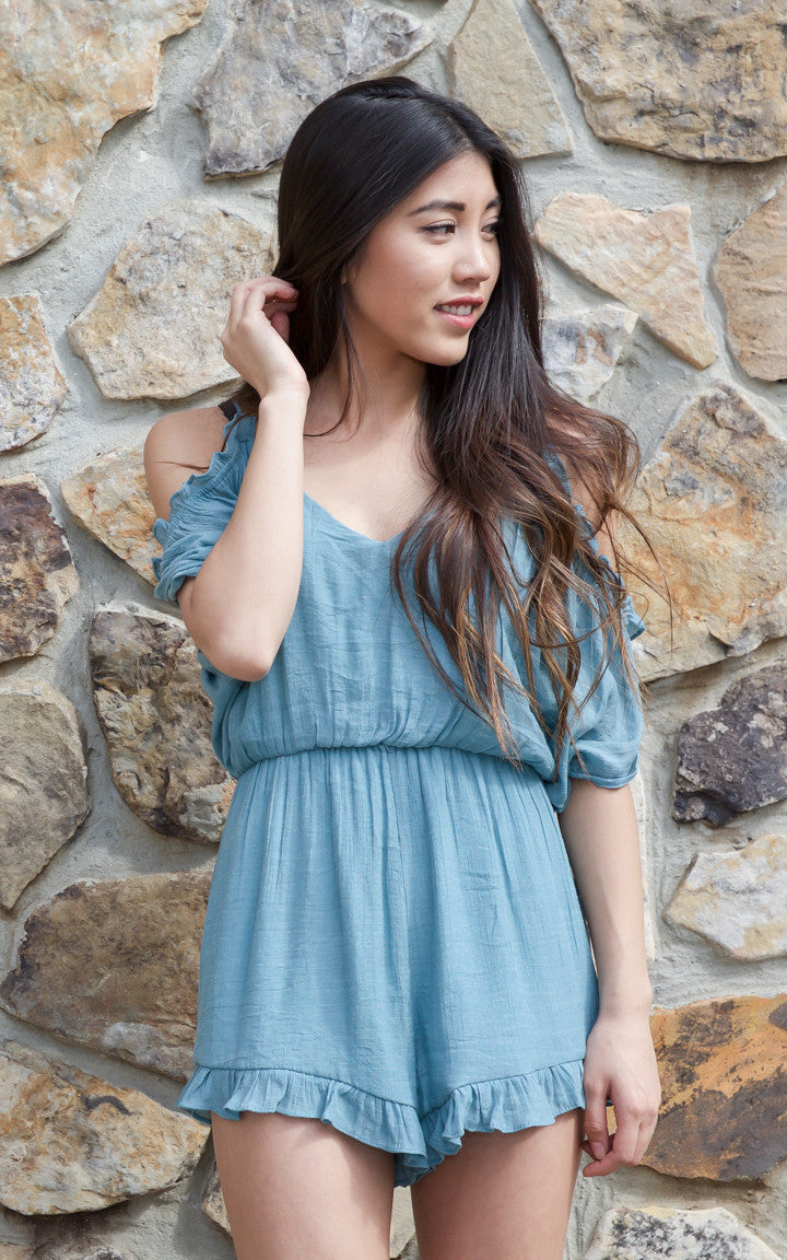 Make Them Blush Teal Romper - Dawn and Rae Boutique
