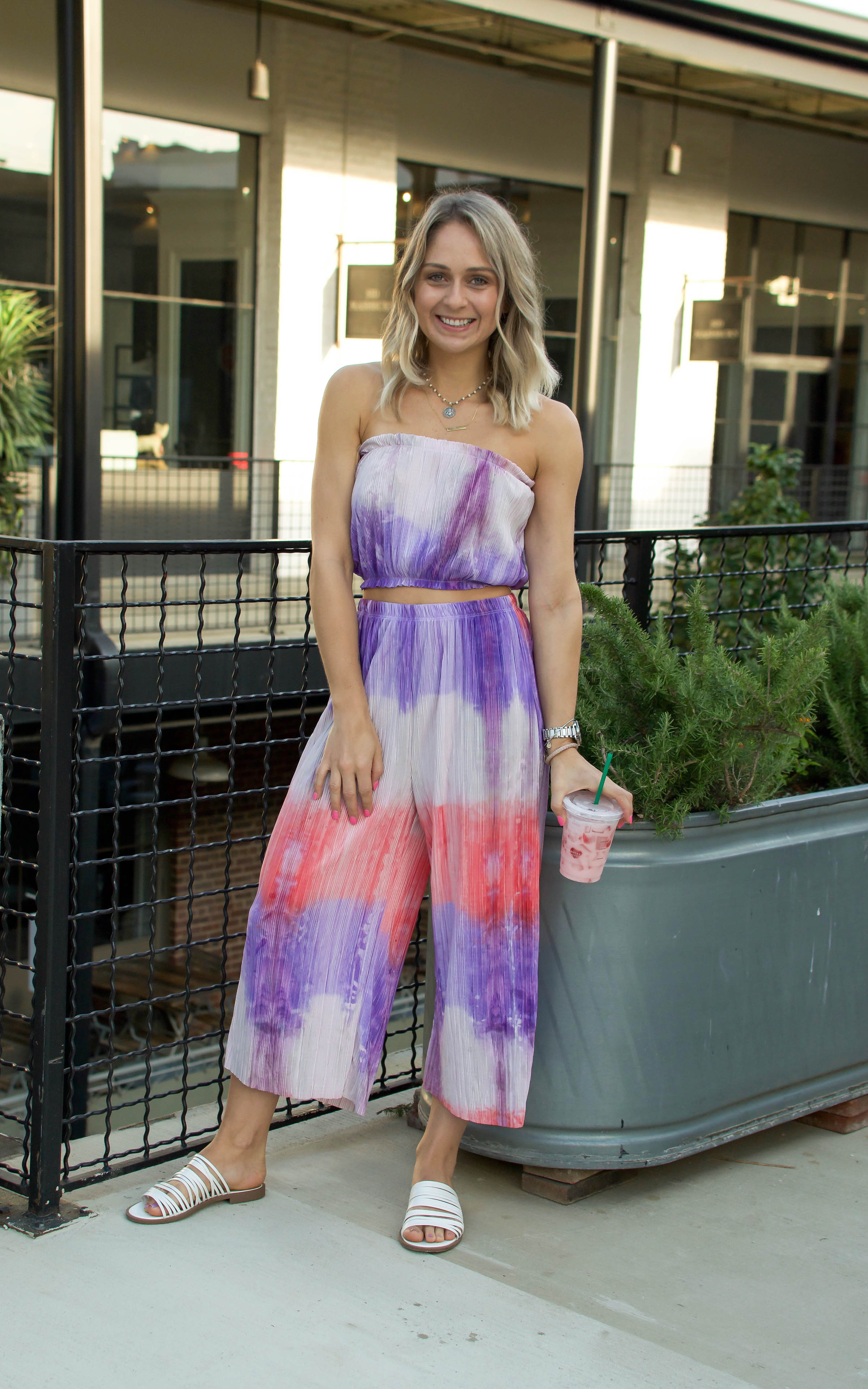 purple and pink tie dye two piece pant set