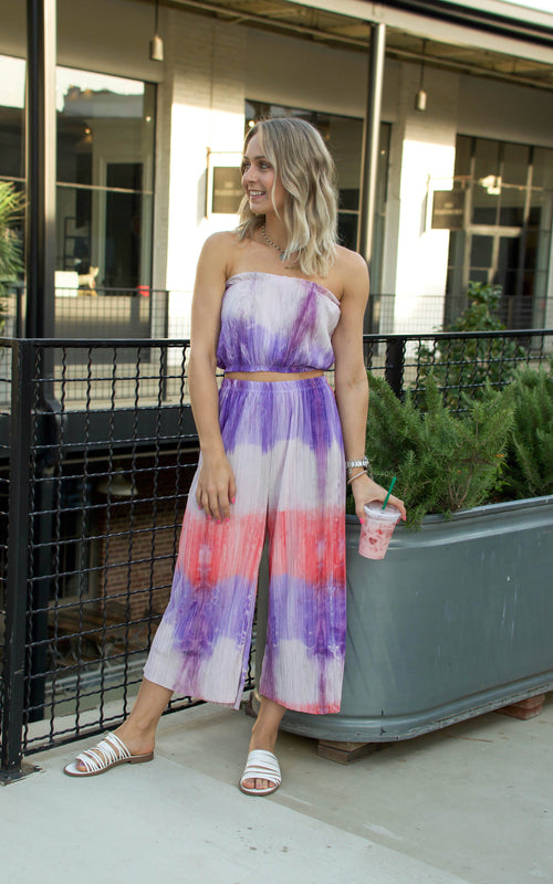 tie dye two piece short set