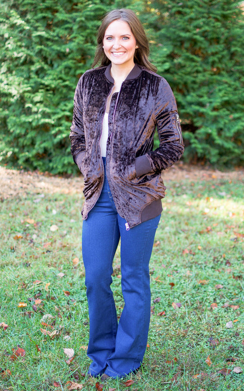 brown velvet bomber jacket