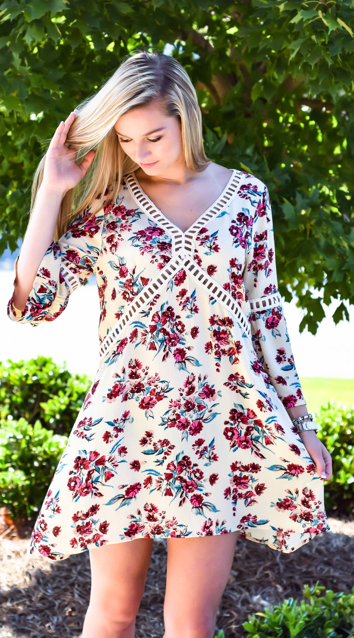 Mustard Floral Fields Shift Dress - Dawn and Rae Boutique