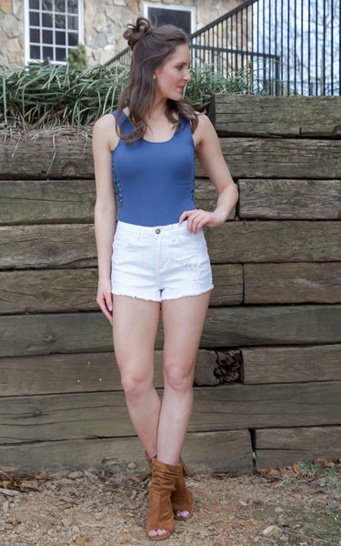White High Waisted Denim Shorts - Endless Knot Boutique