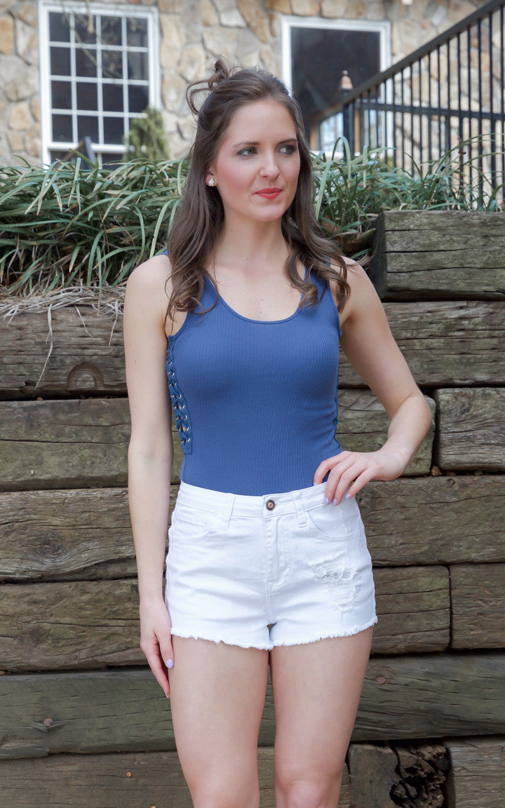 White High Waisted Denim Shorts - Dawn and Rae Boutique