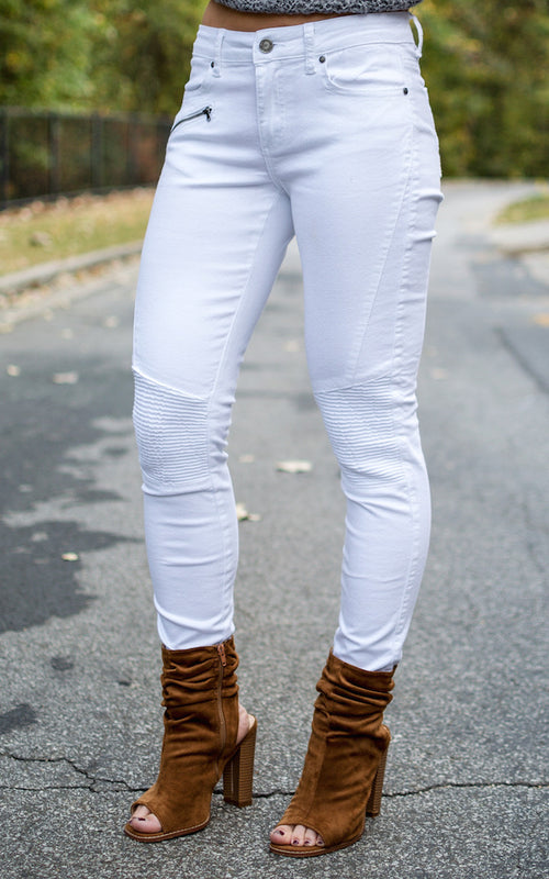 White Moto Jeans - Dawn and Rae Boutique