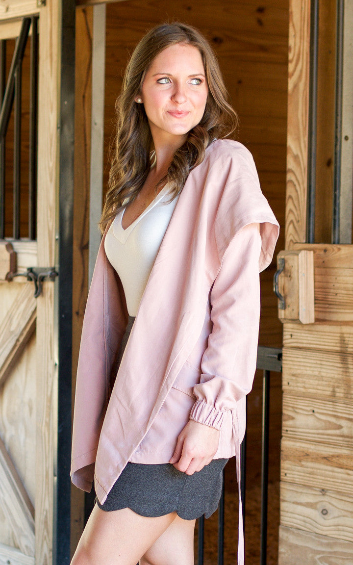 Pink Belted Jacket - Dawn and Rae Boutique