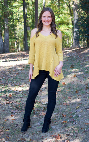 Mustard Cold Shoulder Sweater - Endless Knot Boutique