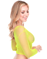 Diamond Fishnet Long Sleeve Crop Top -  rave wear, rave outfits, edc, booty shorts