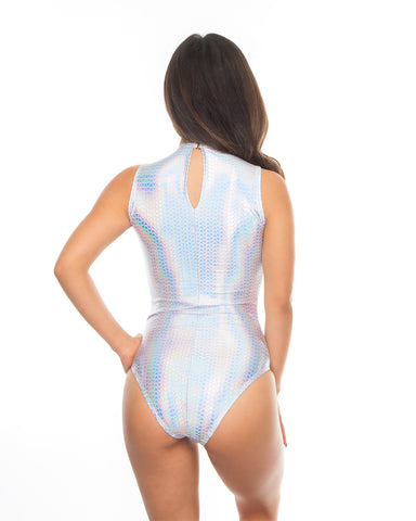 White Pyramids Holographic Mesh Panel Baywatch Rave Bodysuit