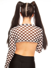 Ready, Set, GO! Checker Sheer Long Sleeve Shrug