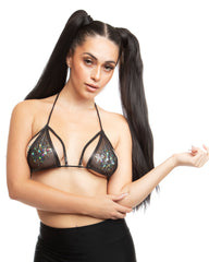 Shimmer Sheer Caged Halter Bikini Rave Top (Available in 4 Colors)
