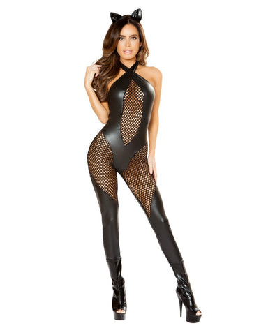 Kitty Catsuit Costume with Fishnet Detail