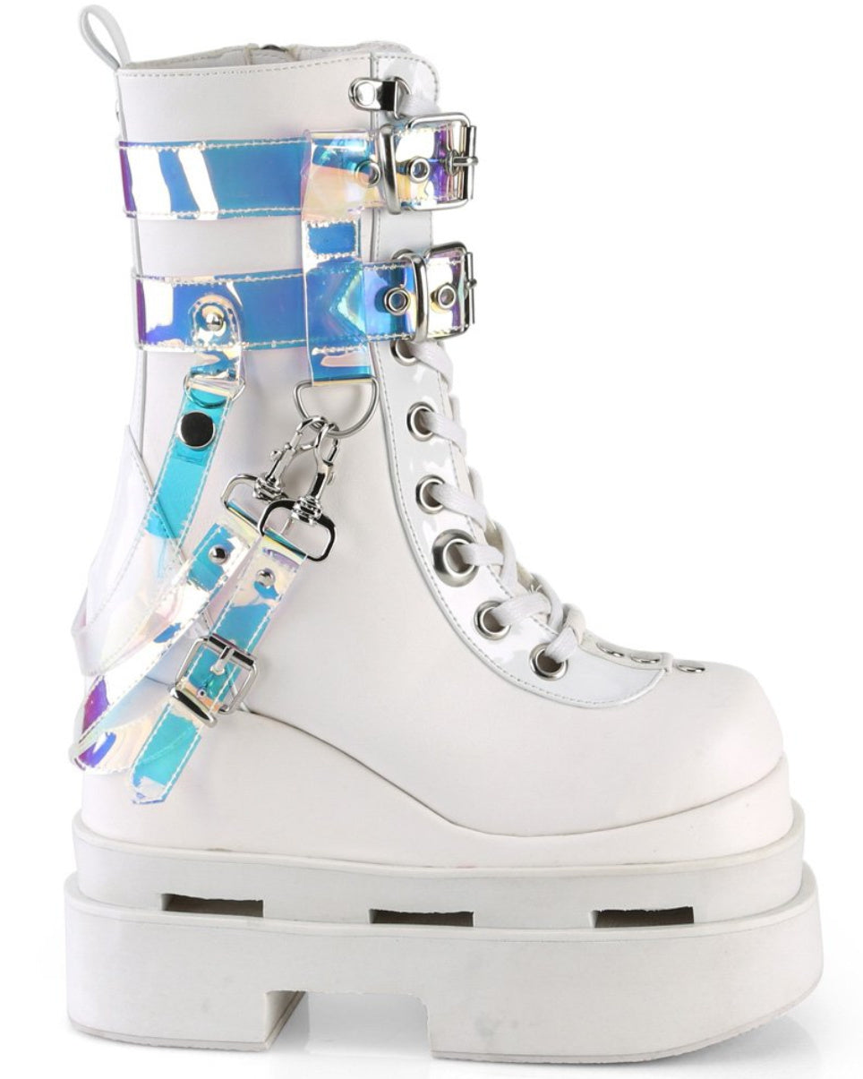Demonia White Triple Tiered Wedge Cutout PF Lace-Up Front Mid-Calf Boot
