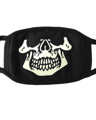 Skeleton Glow in the Dark/Blacklight Reactive Black Cloth Face Mask