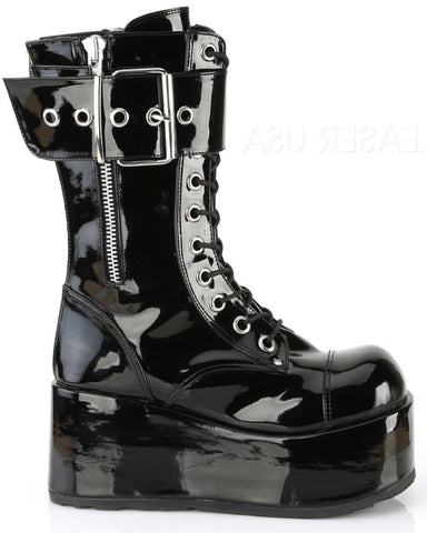 Demonia Black Lace-Up Mid-Calf Platform Boots