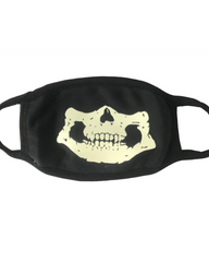 Skull Glow in the Dark/Blacklight Reactive Black Cloth Face Mask