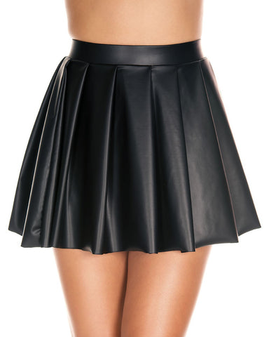 Black Wet Look Pleated Skirt