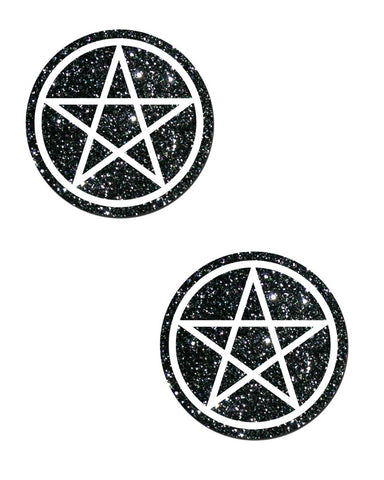 PENTAGRAM: WHITE ON BLACK GLITTER NIPPLE PASTIES -  rave wear, rave outfits, edc, booty shorts
