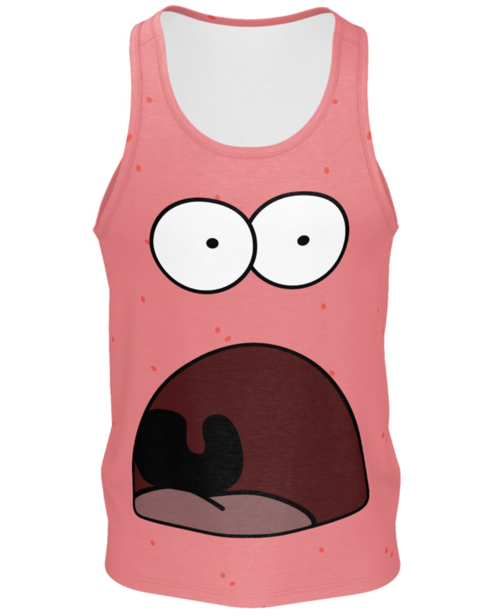 Shocked Patrick Men's Cotton Tank Top -  rave wear, rave outfits, edc, booty shorts