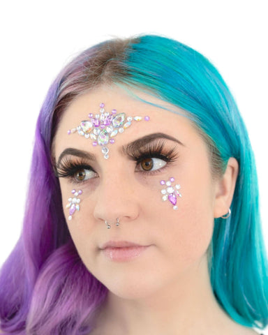 Purple Magic Rhinestone Rave Face Jewel