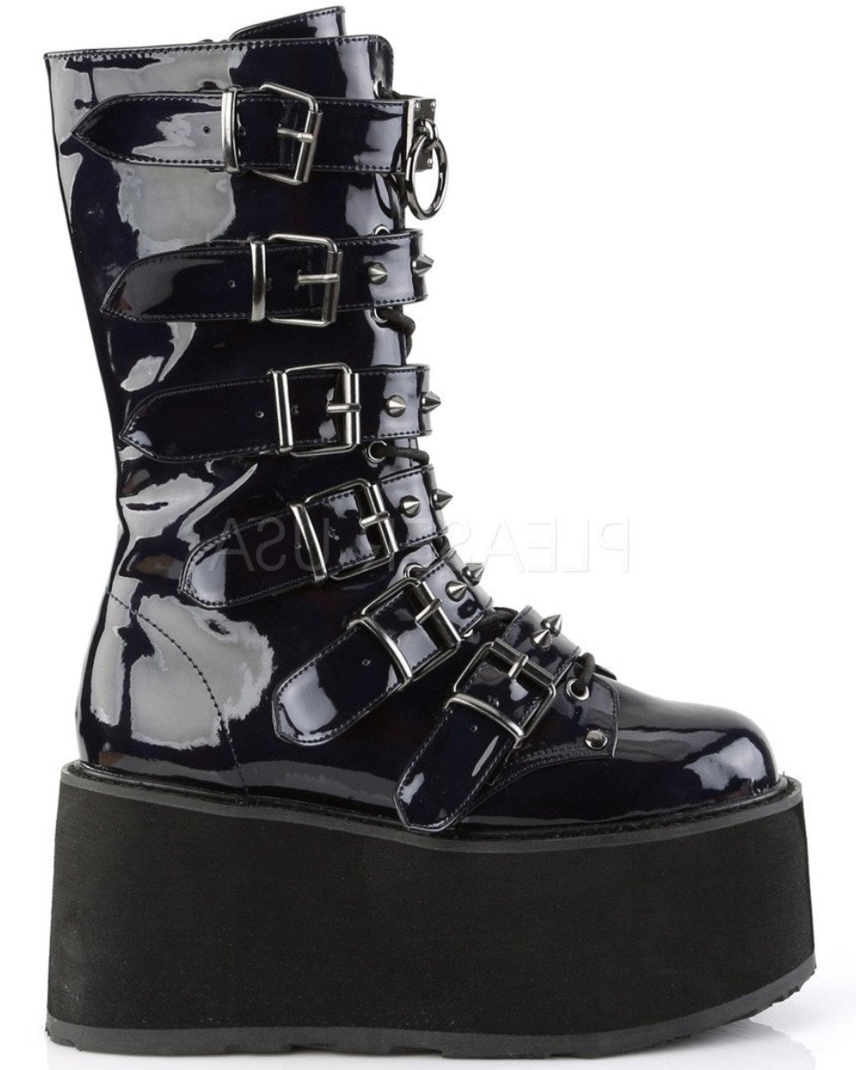 Demonia Black Holographic Studded Mid-Calf Platform Boots