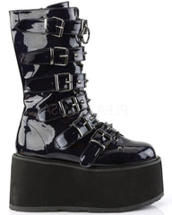 Black Holographic Studded Mid-Calf Platform Boots