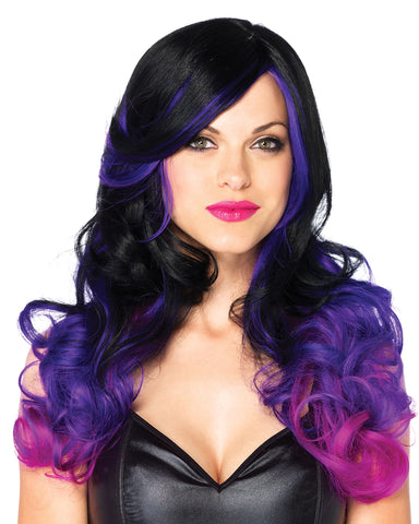 Allure Ombre Purple Black Wavy Long Hair Wig -  rave wear, rave outfits, edc, booty shorts