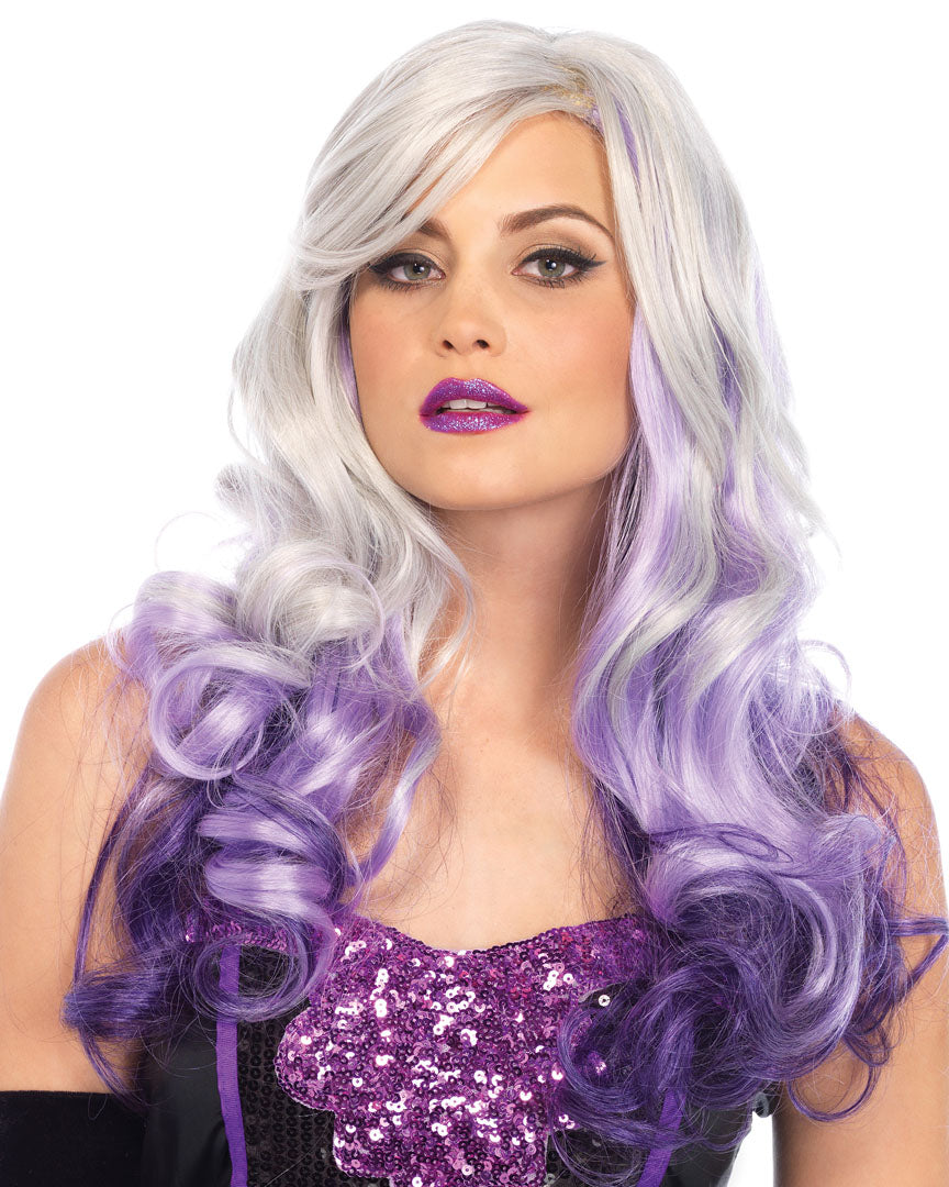 Allure Ombre Purple White Wavy Long Hair Wig -  rave wear, rave outfits, edc, booty shorts
