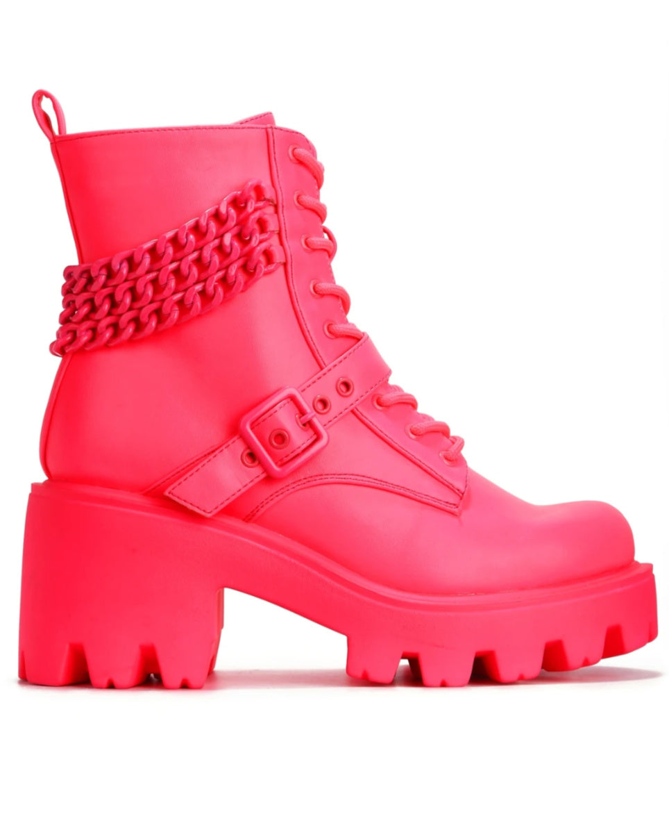 The Hottest Pink Chunky Heel Boots