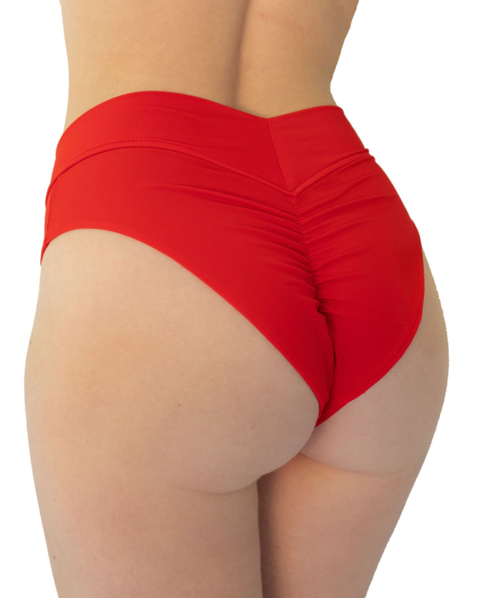 Red Matte Solid Scrunch Back Booty Shorts