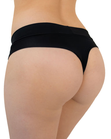 Black Matte Solid Thong