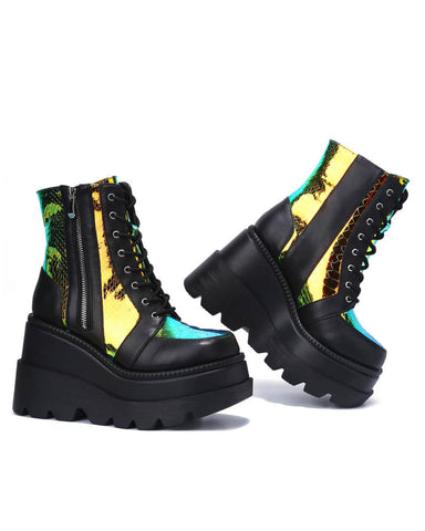 Golden Viper Black Platform Boots