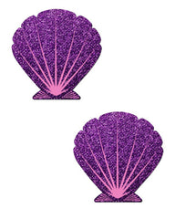 Animated Mermaid Scale Pattern Shell Pasties -  rave wear, rave outfits, edc, booty shorts
