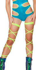 Neon Green Black Light Leg Wraps - Rave Wonderland, rave wear, rave outfits, rave bra, edm clothing, rave costumes, rave attire, rave top, rave shorts, booty shorts, rave party outfits, rave bottoms, rave outfit ideas, rave clothes, electric daisy, edc clothing, edc tops, rave clothing store, edc outfits