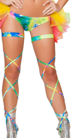 Tie Dye Leg Wraps - Rave Wonderland, rave wear, rave outfits, rave bra, edm clothing, rave costumes, rave attire, rave top, rave shorts, booty shorts, rave party outfits, rave bottoms, rave outfit ideas, rave clothes, electric daisy, edc clothing, edc tops, rave clothing store, edc outfits