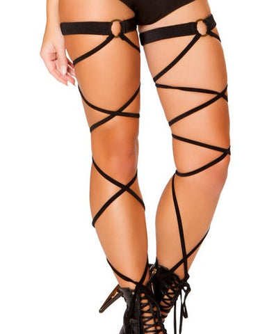 Black O-Ring Leg Wraps -  rave wear, rave outfits, edc, booty shorts