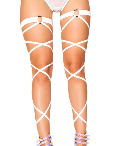 White O-Ring Leg Wraps -  rave wear, rave outfits, edc, booty shorts