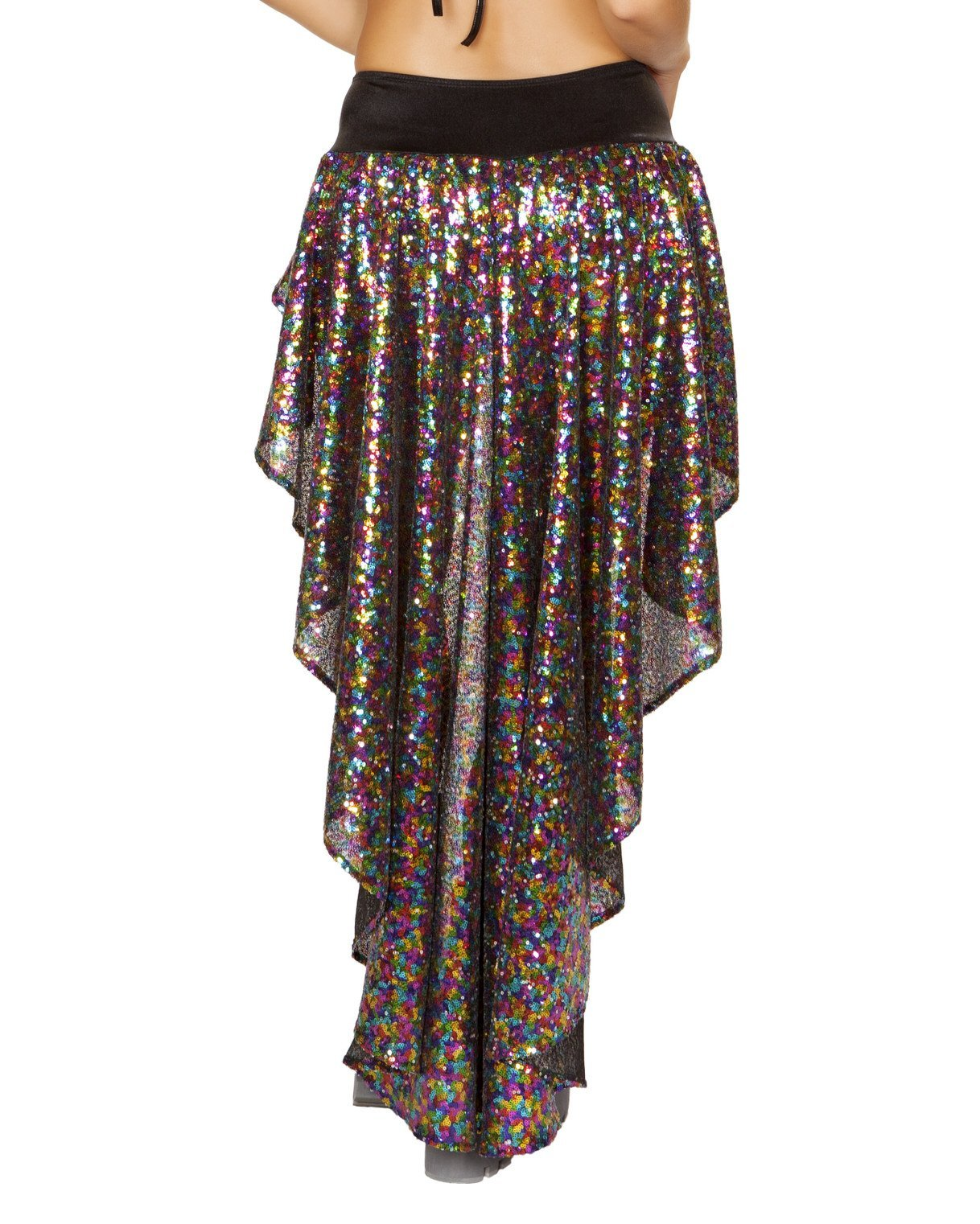 Rave Sequin Shorts with Asymmetrical Attached Open Front Skirt