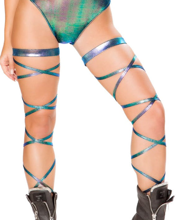 "Iridescent Blue 100"" Leg Wraps"