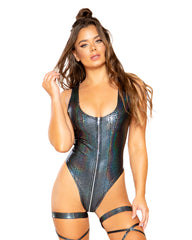 Snake Skin Zipper Closure Rave Bodysuit