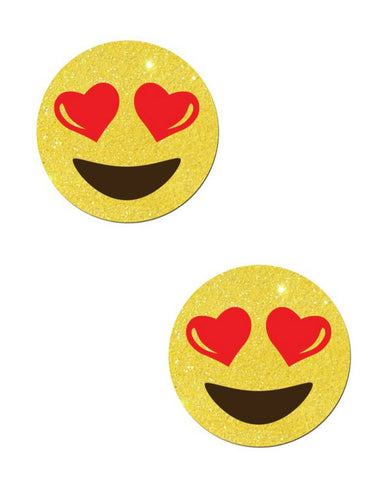 EMOJI: HEART EYES ON YELLOW GLITTER NIPPLE PASTIES -  rave wear, rave outfits, edc, booty shorts