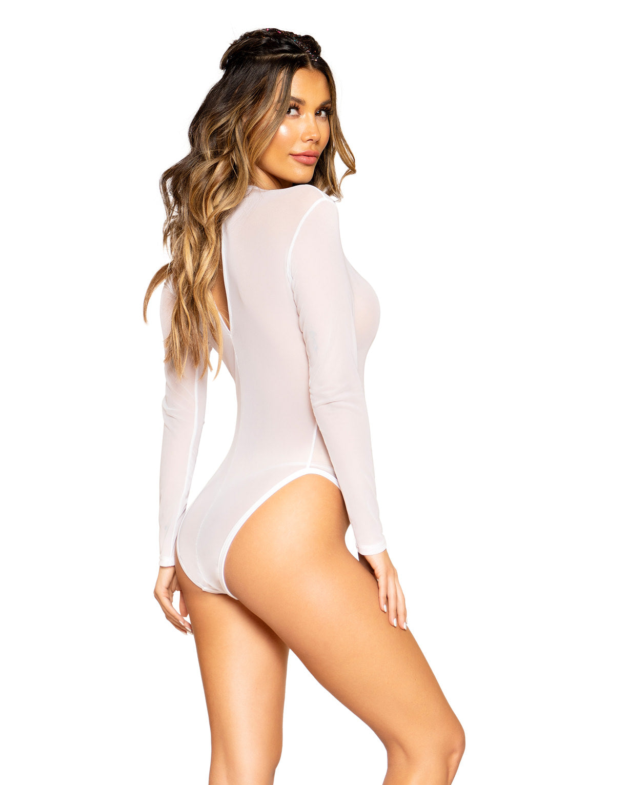Sheer Long Sleeve Rave Bodysuit