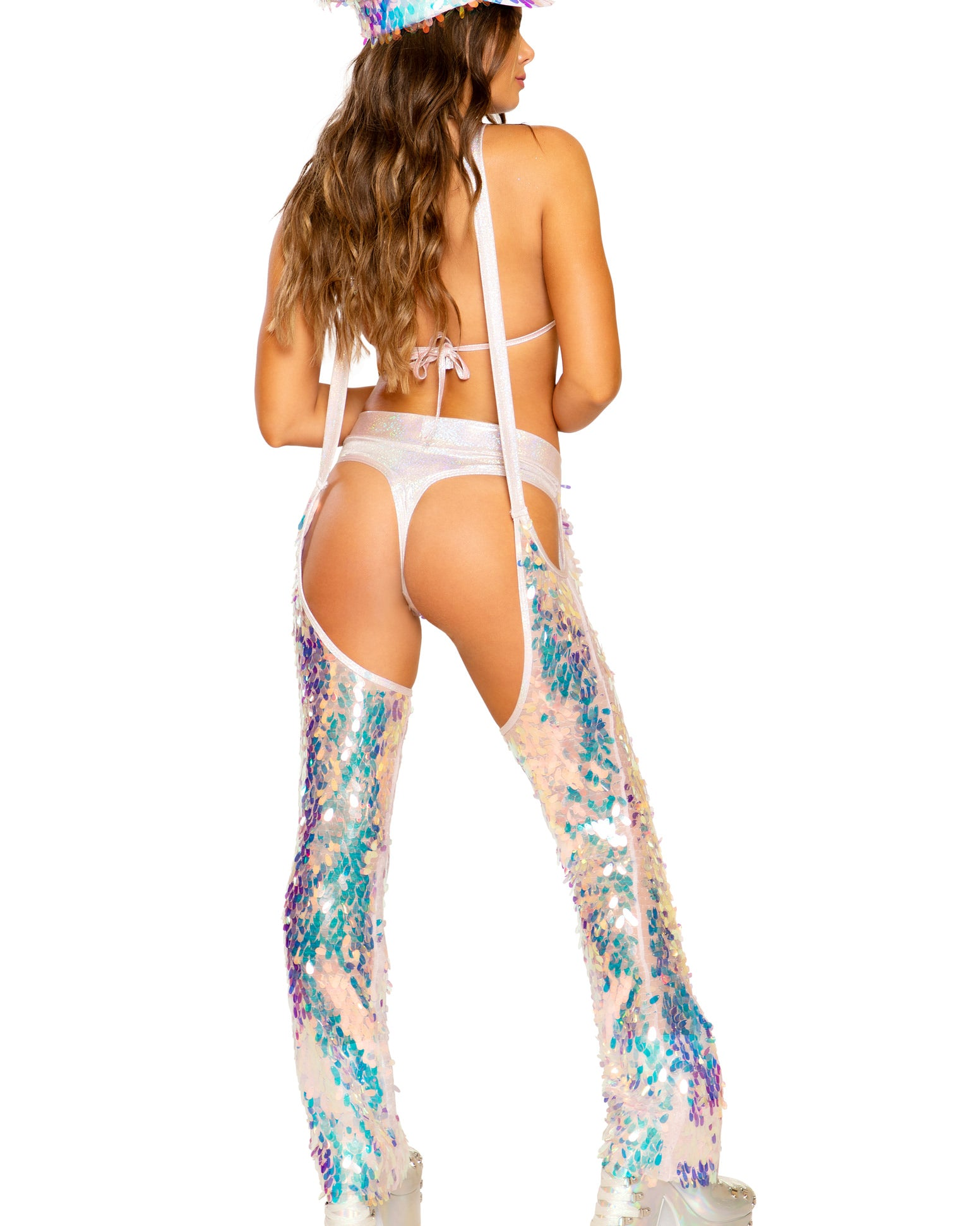 Tear Drop Sequin Suspender Chaps