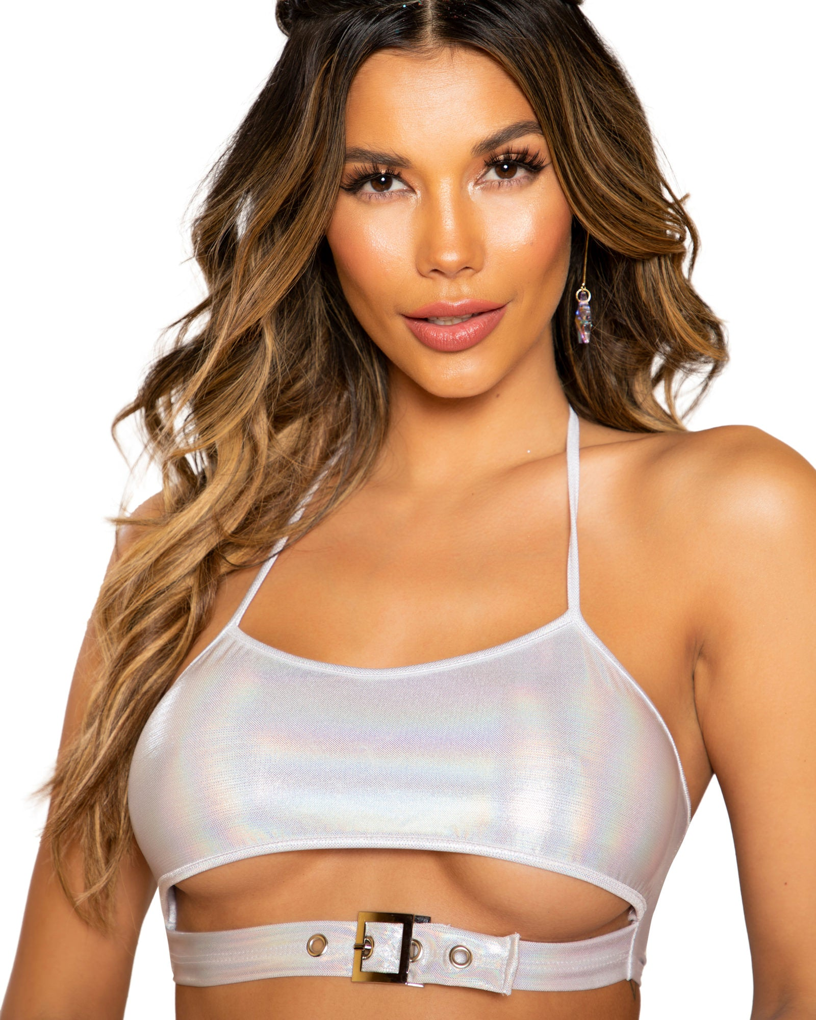 Shimmer Buckle Underboob Rave Crop Top