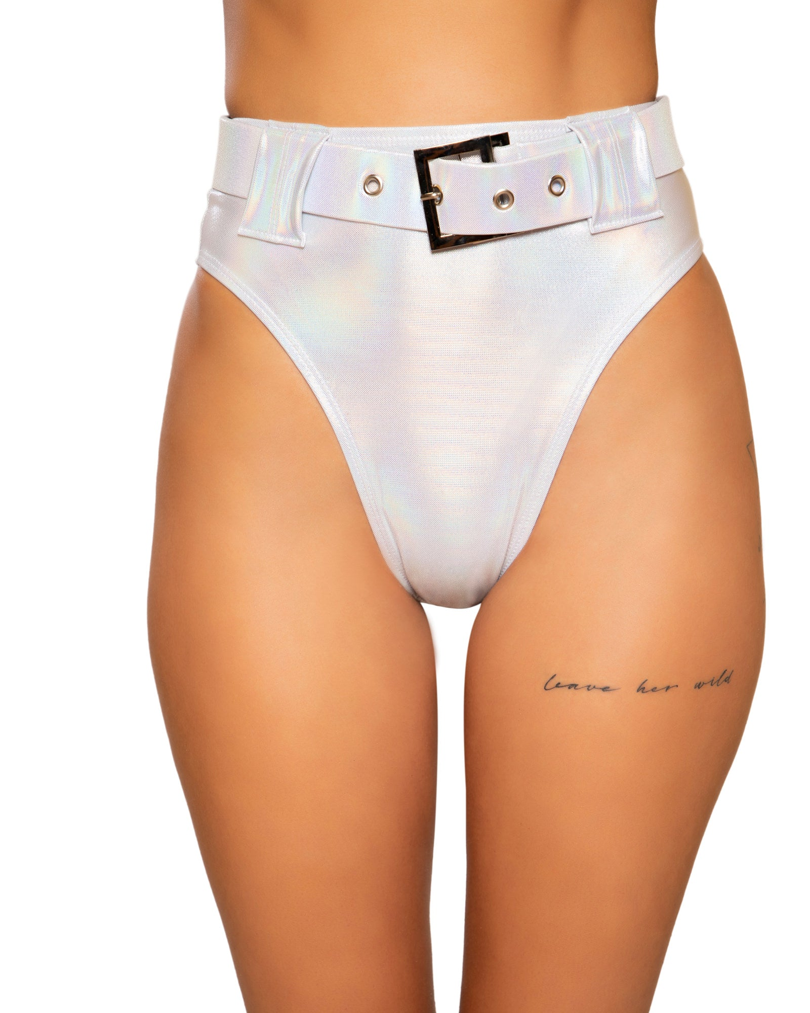 Shimmer Buckle High Waist Rave Shorts