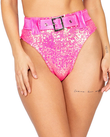 Shimmer High Waist Buckle Shorts