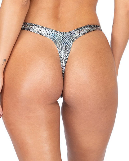 Gunmetal Snakeskin Cheeky Shorts