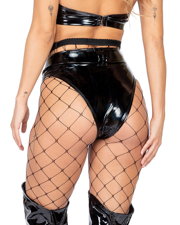 Vinyl High Waist Belted Shorts